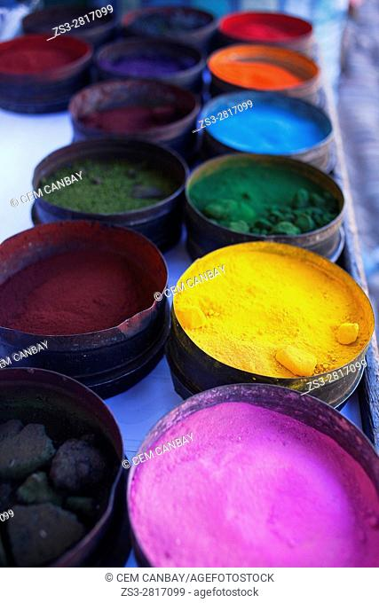 Nature coloring dyes at the open-air market in Pisac town, Valle Sagrado, Cusco Region, Peru, South America