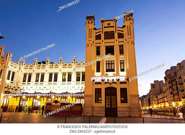 Facade of north railways station in a stunning twilight. Valencia, Spain