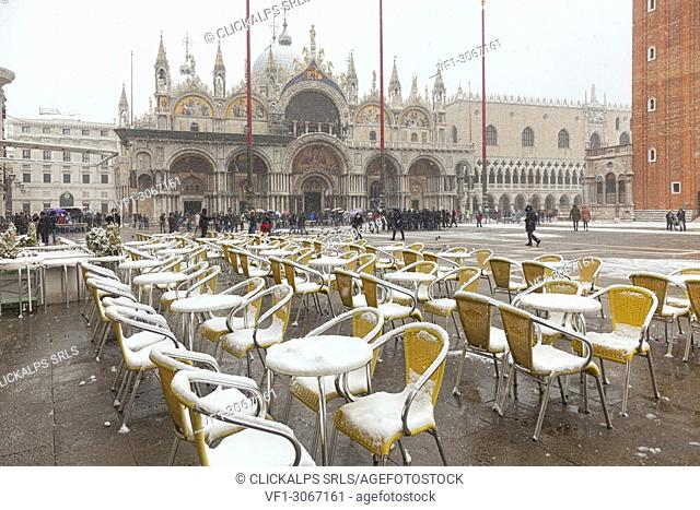 St. Mark's Square during a snowfall, Venice, Veneto, Italy