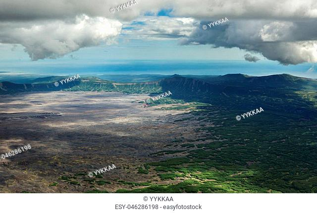 Caldera volcano Maly Semyachik. Kronotsky Nature Reserve on Kamchatka Peninsula. View from helicopter