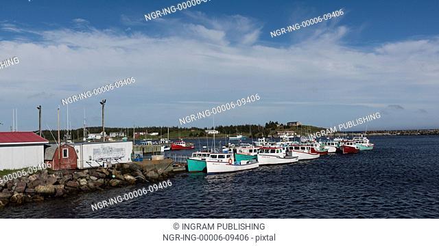 Fishing boats moored at harbor, Main-a-Dieu, Cape Breton Island, Nova Scotia, Canada