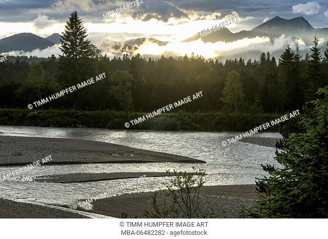 Germany, Bavaria, Bavarian alps, Krün, evening mood in the Karwendel during '24 Stunden von Bayern' (hiking-event)