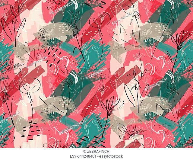Roughly sketched dandelion flower pink green.Creative abstract colorful seamless pattern. Tribal ethnic motives. Universal bright background for greeting cards