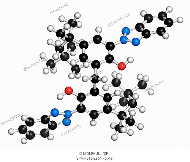 Bisoctrizole sunscreen molecule. Atoms are represented as spheres with conventional colour coding: hydrogen (white), carbon (grey), oxygen (red)