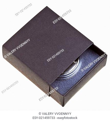 open black box with silver coin