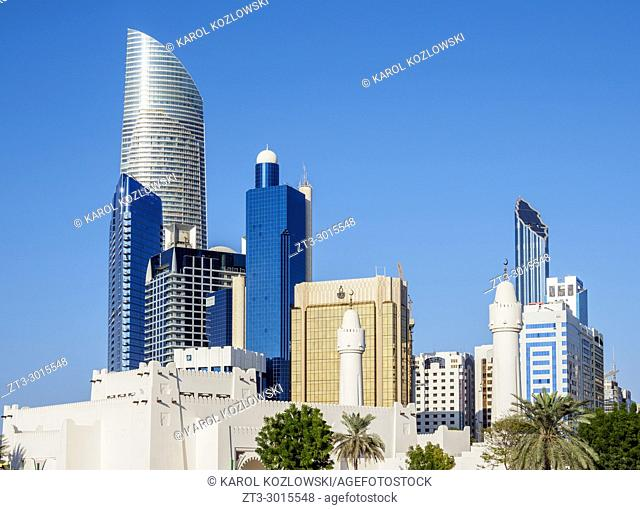 Family Park Mosque and Skyscrapers, Abu Dhabi, United Arab Emirates
