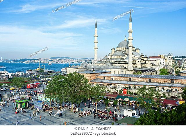View of New Mosque and Bosphorus; Istanbul, Turkey