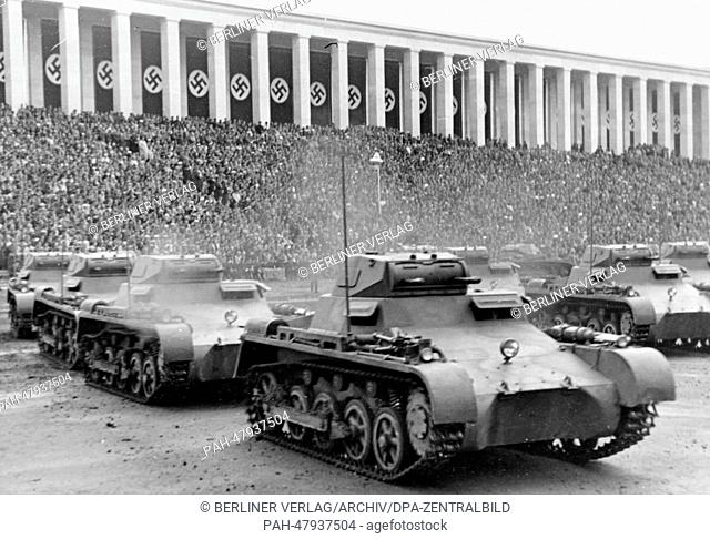 Nuremberg Rally 1937 in Nuremberg, Germany - Nazi party rally grounds - Demonstration by the German Wehrmacht on Zeppelin Field