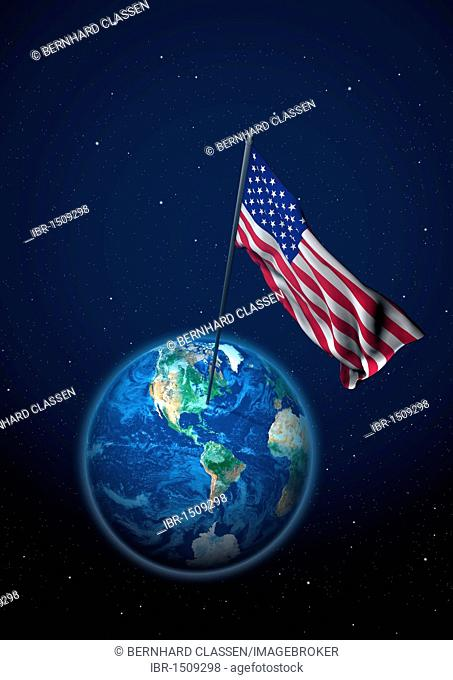 National flag of the USA set up on the globe