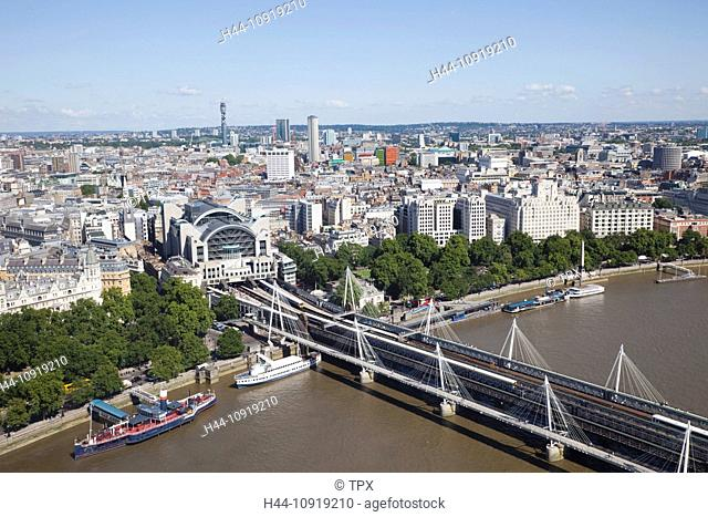 UK, United Kingdom, Europe, Great Britain, England, London, River Thames, Thames, River, River, Rivers, London Eye, Wheel, Aerial View, Skyline, London Skyline