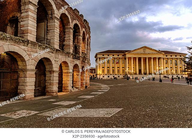 Verona, Italy. Roman Empire amphitheatre, Arena, completed in 30AD, the third largest in the world