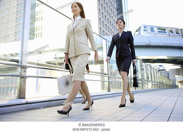 Japan, Honshu, Tokyo, Businesswomen walking on bridge, smiling, low angle view