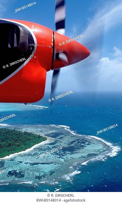aerial view of Maldives Island, North-Male Atoll, Maldives, Indian Ocean