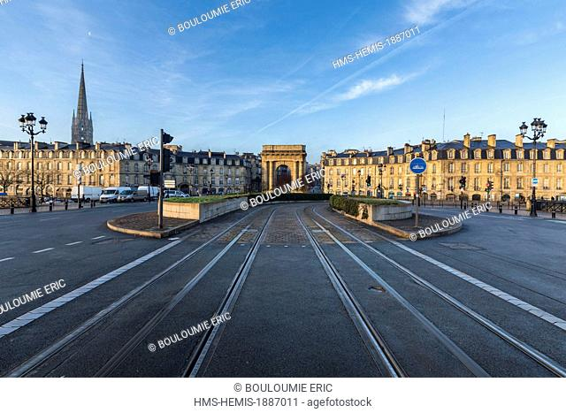 France, Gironde, Bordeaux, area listed as World Heritage by UNESCO, Burgundy gate on Place Bir Hakeim, facing the Stone Bridge
