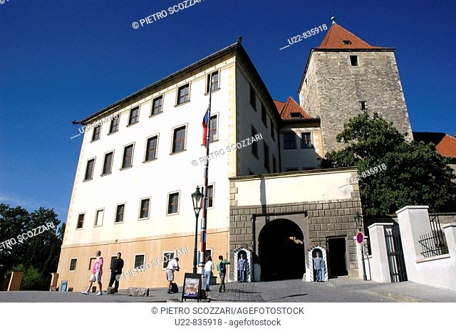 Prague Czech Republic, the eastern entrance to the Hrad, with the Cerna vez Black Tower