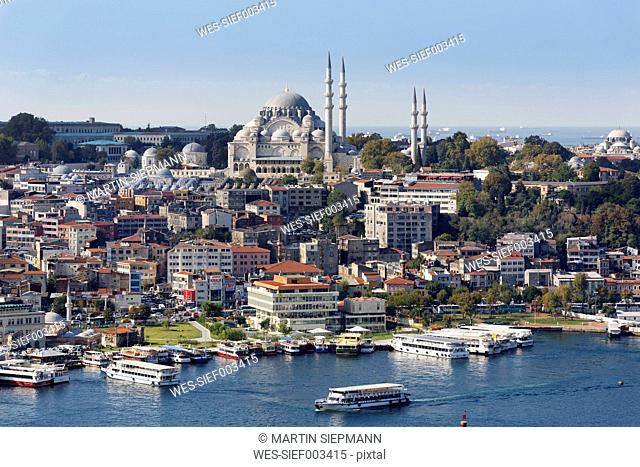 Turkey, Istanbul, View from Galata Tower and Suleymaniye Mosque