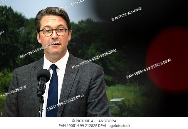 14 May 2019, Berlin: Andreas Scheuer (CSU), Federal Minister of Transport and Digital Infrastructure, speaks at the presentation of the Inland Navigation Master...