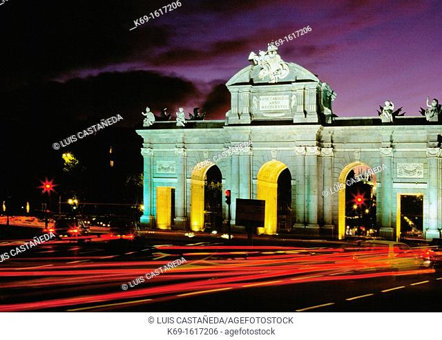 The Puerta de Alcalá (Alcalá Gate), Madrid, Spain. The Puerta de Alcalá is a Neo-classical monument in the Plaza de la Independencia 'Independence Square' in...