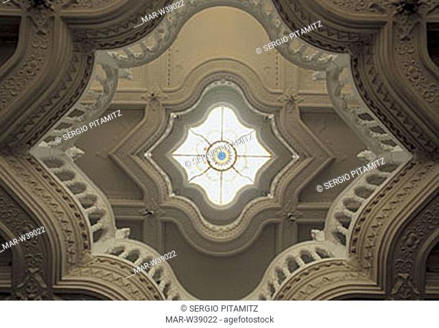 hungary, budapest, detail of the ceiling of the museum of applied arts