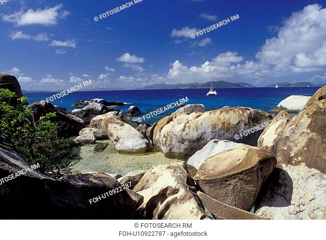 The Baths, Devils Bay National Park, BVI, Virgin Gorda, British Virgin Islands, Caribbean, Scenic view of the rocky coastline of Devils Bay Nat'l Park at The...