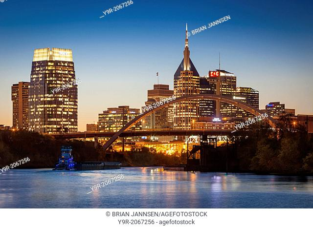 Twilight over Nashville and the Cumberland River, Tennesse, USA