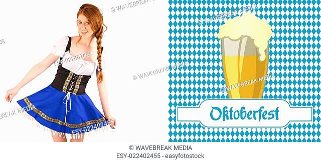 Composite image of oktoberfest girl spreading her skirt