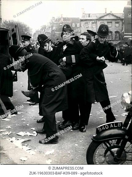 Mar. 03, 1963 - The Jobless Protest Outside House of commons. Five Policemen and one Demonstrator.: Several thousand Trade Unionist arrived in London this...