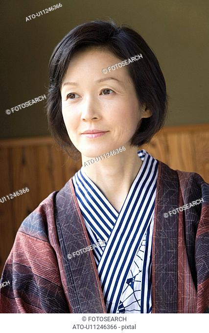 Mature Adult Woman in Yukata Looking Away, Front View, Head and Shoulder