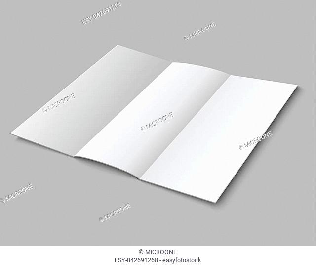 Blank paper folded leaflet. 3d white blank broadsheet vector template. Illustration of white blank booklet and brochure card