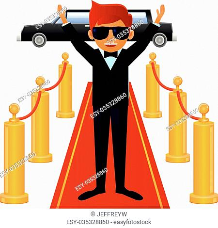 Vector illustration of an actor wearing suit and bowtie standing on red carpet entrance