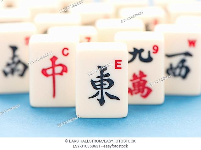 Tiles of mahjong board game