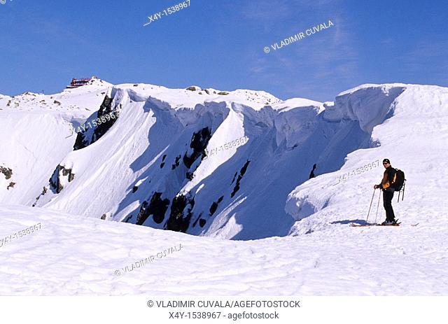 Adventure seeking skier on the ridge heading from Derese to Chopok, Nizke Tatry, Slovakia
