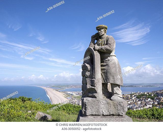 Statue to Portland Stone Masons Portland Dorset England