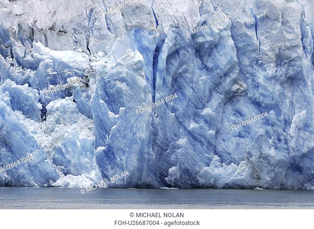 The face of the Sawyer Glacier, a tidewater glacier at the end of Tracy Arm in Southeast Alaska, USA