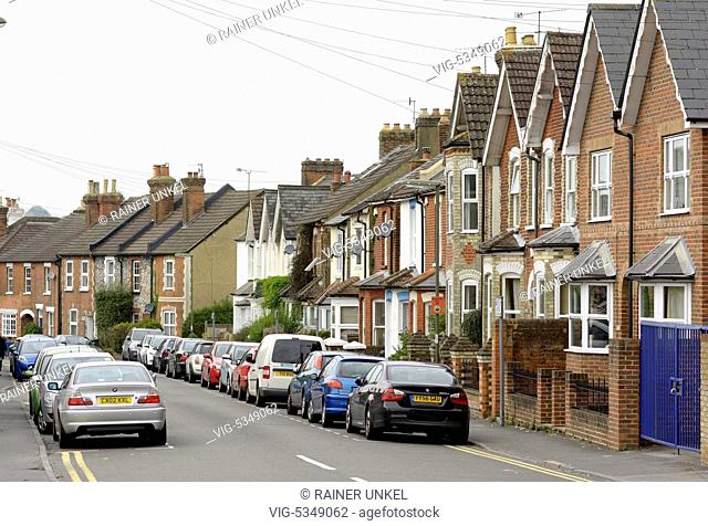 GREAT BRITAIN, GUILDFORD, 10.10.2015, GBR , GREAT BRITAIN / ENGLAND / UK : A street with houses in Guildford , 10.10.2015 - Guildford, Guildford, United Kingdom