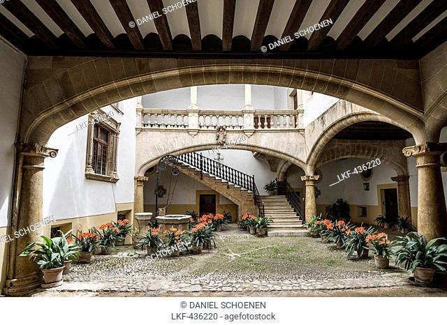Courtyard of a mansion in the historic part of Palma de Mallorca, Majorca, Spain