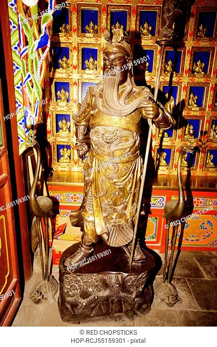 Guang Giong statue in a temple, Da Zhao Temple, Hohhot, Inner Mongolia, China