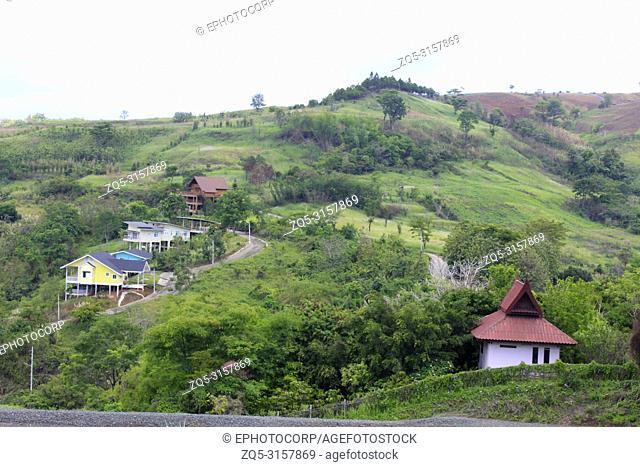 Colorful houses in the valley near Wat Pha Sorn Kaew, Khao Kor, Phetchabun, Thailand