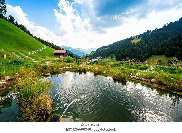 Idyllic Place To Relax And Enjoy The Beauty Of The Nature. Summer In The Mountains Of The Alps, In Switzerland