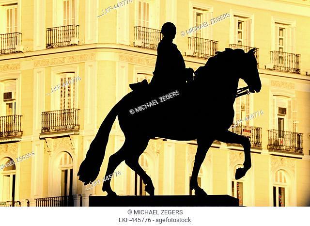 Statue of King Philip III on horseback, Felipe III, statue on the Plaza Mayor square, historic city center, Madrid, Spain