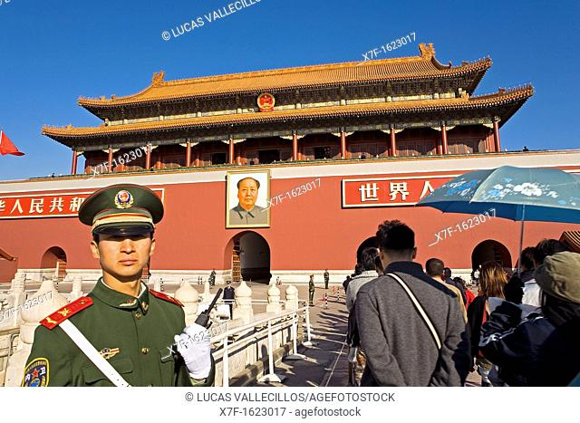 Gate of Heavenly Peace with Portrait of Mao Ze Dong ,in Tiananmen Square,Beijing, China