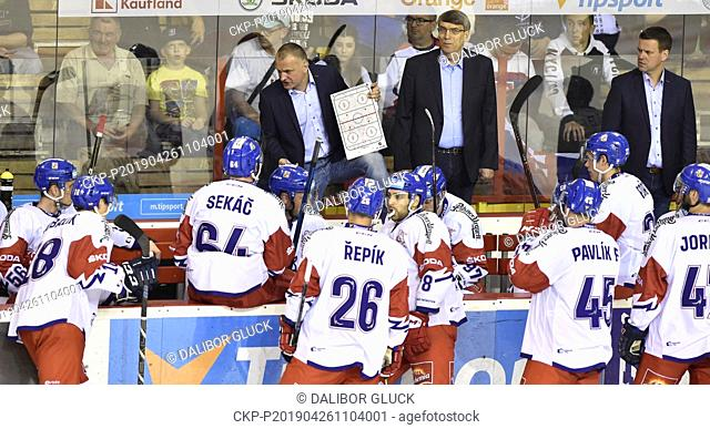 Robert Reichel (up, left), Assistant Coach of Czech Republic, is seen during the Euro Hockey Challenge match Slovakia vs Czech Republic in Trencin, Slovakia