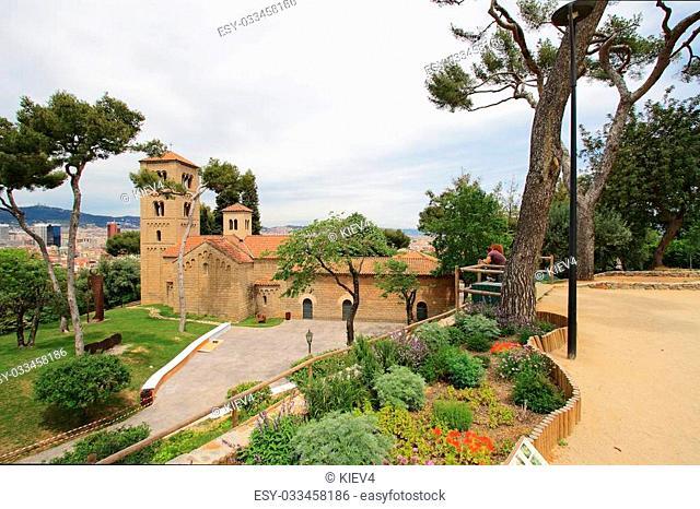 Roman church in Poble Espanyol (traditional architectural complex) in Barcelona, Spain