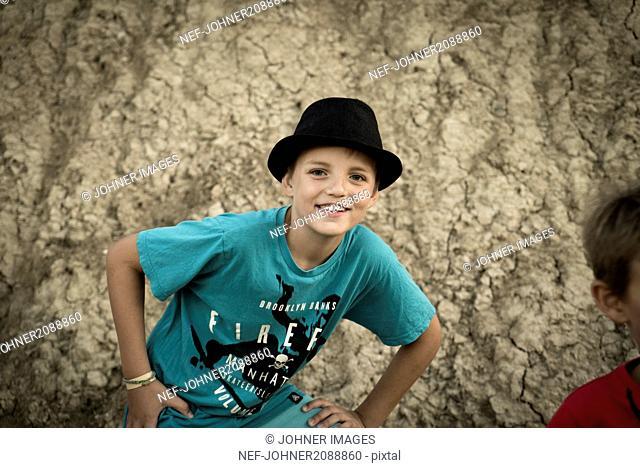 Portrait of boy in hat