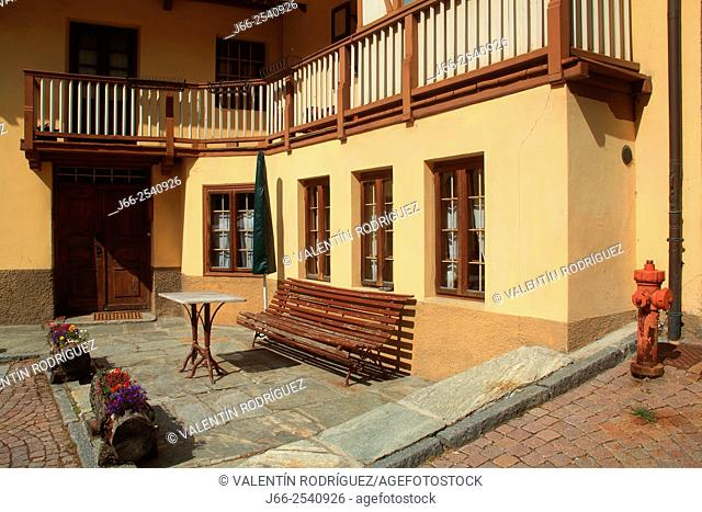 House in Gressoney-Saint-Jean. Gressoney valley. Italy
