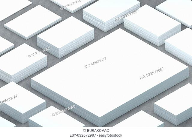 template to presentation. place for your design. many cards. stacks of paper. greeting cards. flyers. business cards. canvas background. A4