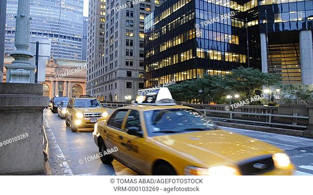 Cars Exiting Pershing Square bridge, Grand Central Terminal, East Side of New York City