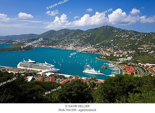 Elevated view over Charlotte Amalie and the cruise ship dock of Havensight, St. Thomas, U.S. Virgin Islands, Leeward Islands, West Indies, Caribbean