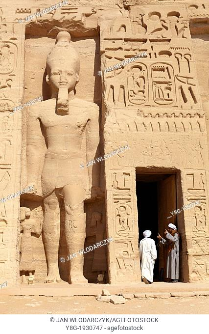 Entrance to the Temple of Queen Nefertari at Abu Simbel on the shore of Lake Nasser, Egypt, Unesco