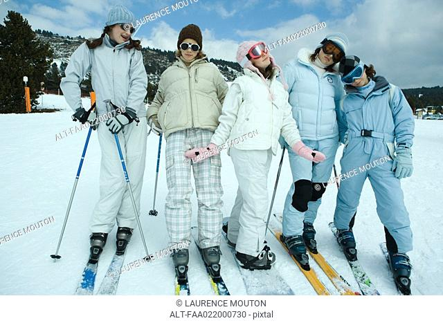 Group of young skiers, full length, portrait